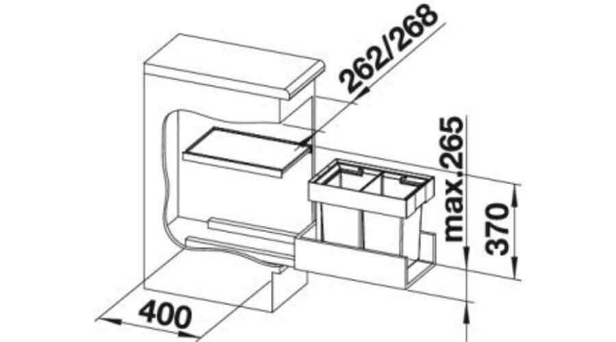 Blanco Flexon II 30/2 fiókba tehető szemetes 2x8 literes
